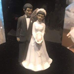 Cake topper black couple tuxedo 4 inches high